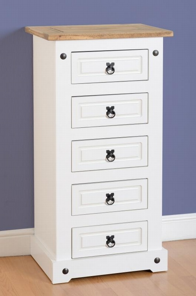 Corona white narrow 5 drawer chest mexican pine - White and pine bedroom furniture ...