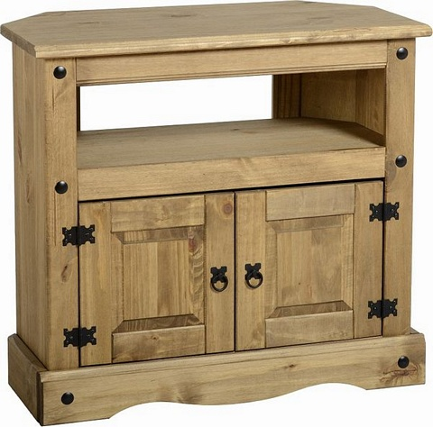 Corona Corner TV Unit £70.00   .Mexican Pine   Corona Occasional Mexican  Pine Furniture For Bedrooms, Living And Dining Rooms